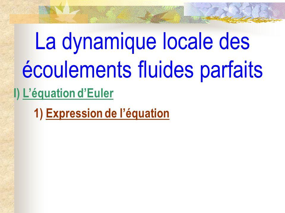 La dynamique locale des écoulements fluides parfaits I) Léquation dEuler 1) Expression de léquation