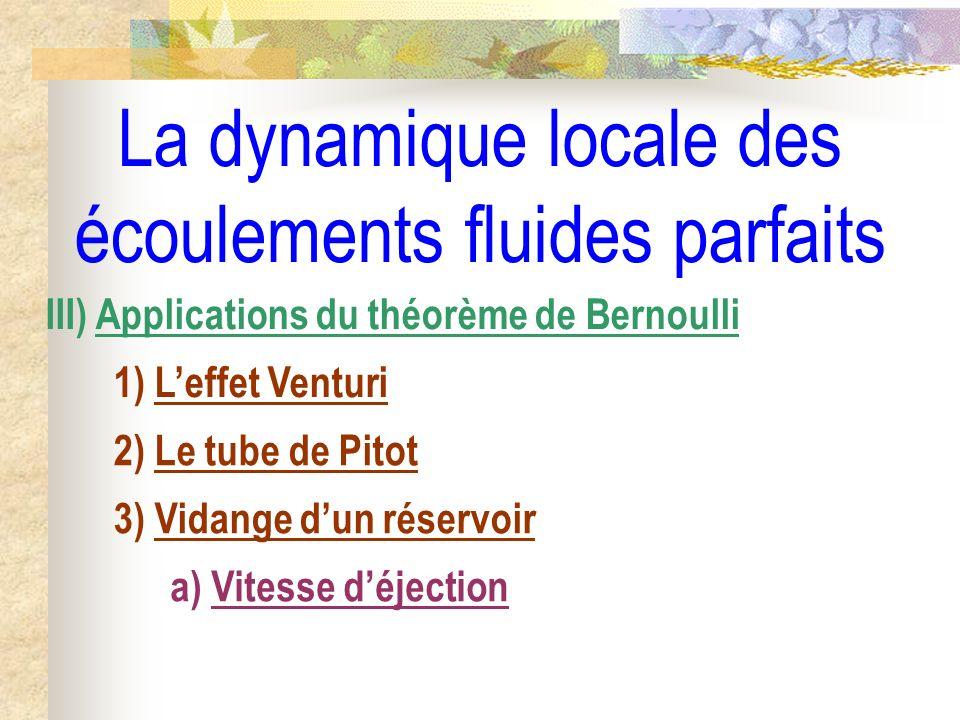 La dynamique locale des écoulements fluides parfaits III) Applications du théorème de Bernoulli 1) Leffet Venturi 2) Le tube de Pitot 3) Vidange dun réservoir a) Vitesse déjection