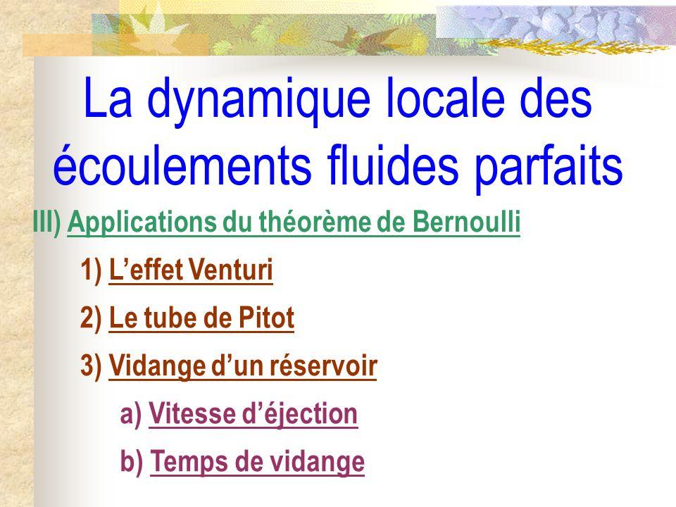 La dynamique locale des écoulements fluides parfaits III) Applications du théorème de Bernoulli 1) Leffet Venturi 2) Le tube de Pitot 3) Vidange dun réservoir a) Vitesse déjection b) Temps de vidange