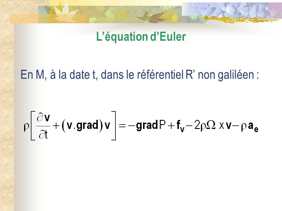 Théorème de Bernoulli Lécoulement est stationnaire : Dans le champ de pesanteur uniforme, la densité massique de force sécrit : g = – grad (g.z) Lécoulement est incompressible et homogène : est constant et uniforme