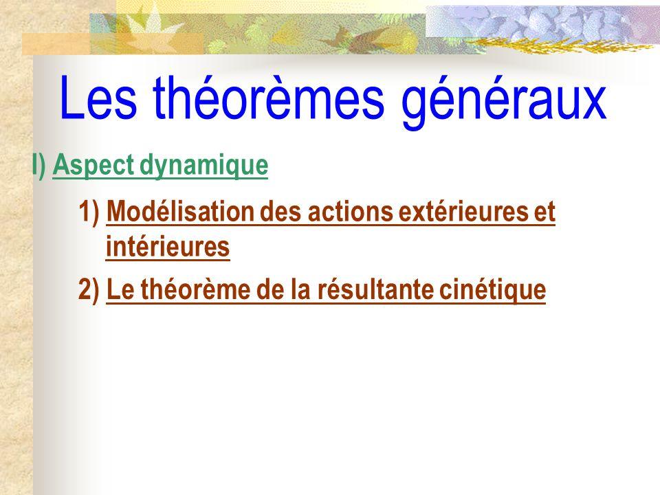 Les théorèmes généraux I) Aspect dynamique 1) Modélisation des actions extérieures et intérieures 2) Le théorème de la résultante cinétique