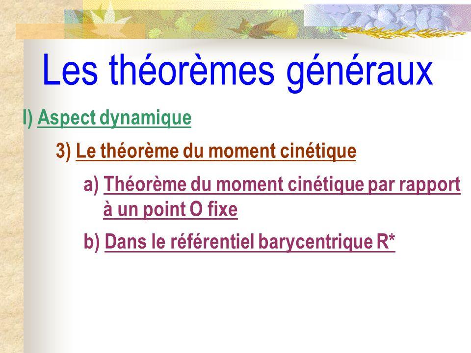 Les théorèmes généraux b) Dans le référentiel barycentrique R* I) Aspect dynamique 3) Le théorème du moment cinétique a) Théorème du moment cinétique