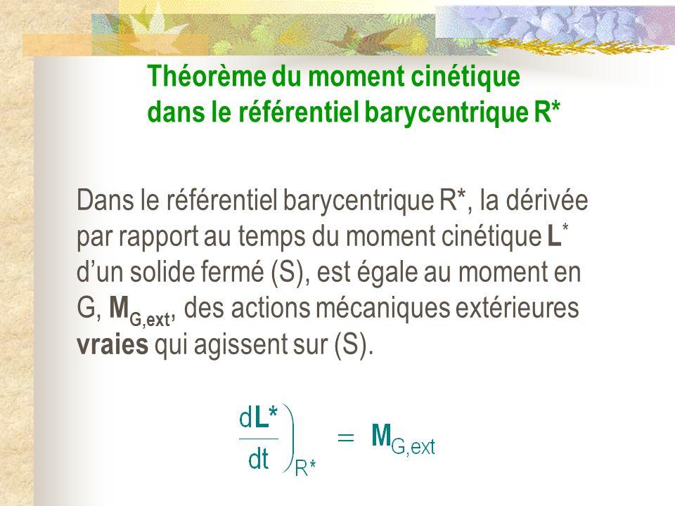 Théorème du moment cinétique dans le référentiel barycentrique R* Dans le référentiel barycentrique R*, la dérivée par rapport au temps du moment ciné