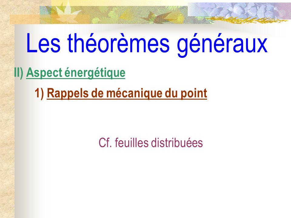 Les théorèmes généraux II) Aspect énergétique 1) Rappels de mécanique du point Cf. feuilles distribuées