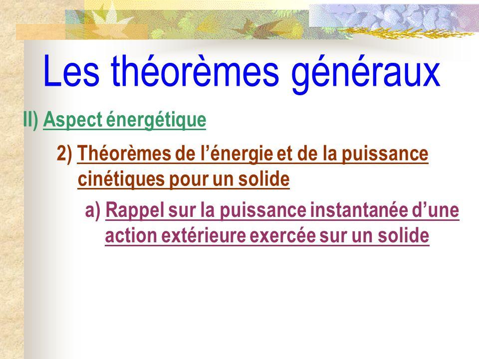 Les théorèmes généraux II) Aspect énergétique 2) Théorèmes de lénergie et de la puissance cinétiques pour un solide a) Rappel sur la puissance instant