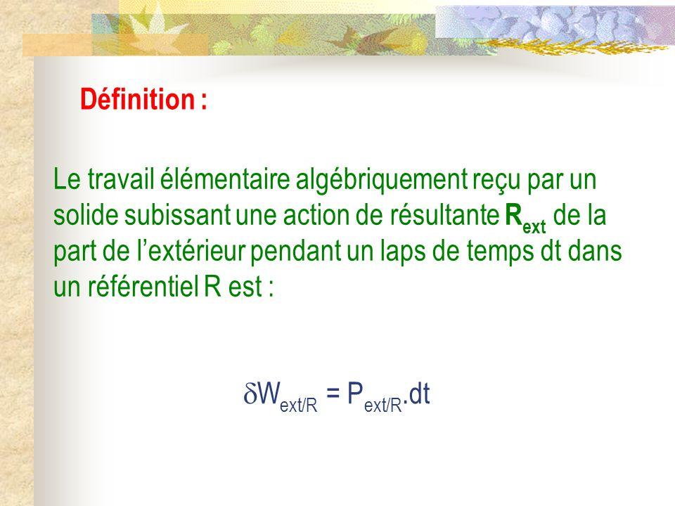 Définition : Le travail élémentaire algébriquement reçu par un solide subissant une action de résultante R ext de la part de lextérieur pendant un lap