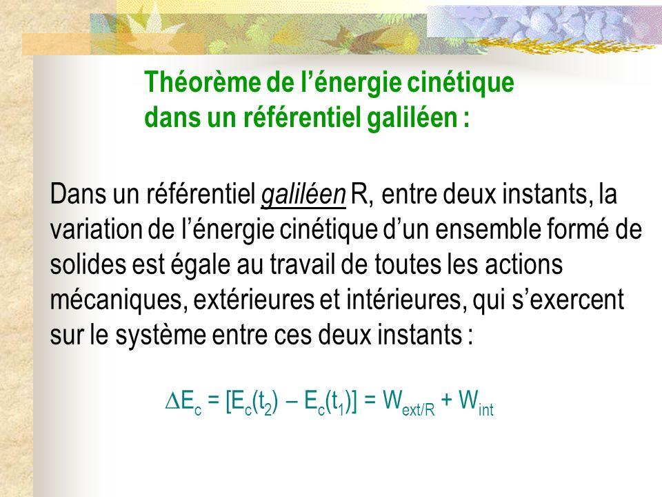 Théorème de lénergie cinétique dans un référentiel galiléen : Dans un référentiel galiléen R, entre deux instants, la variation de lénergie cinétique