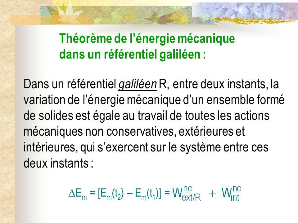 Théorème de lénergie mécanique dans un référentiel galiléen : Dans un référentiel galiléen R, entre deux instants, la variation de lénergie mécanique