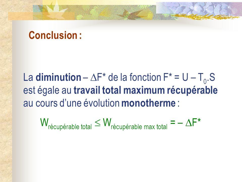 Conclusion : La diminution – F* de la fonction F* = U – T 0.S est égale au travail total maximum récupérable au cours dune évolution monotherme : W ré