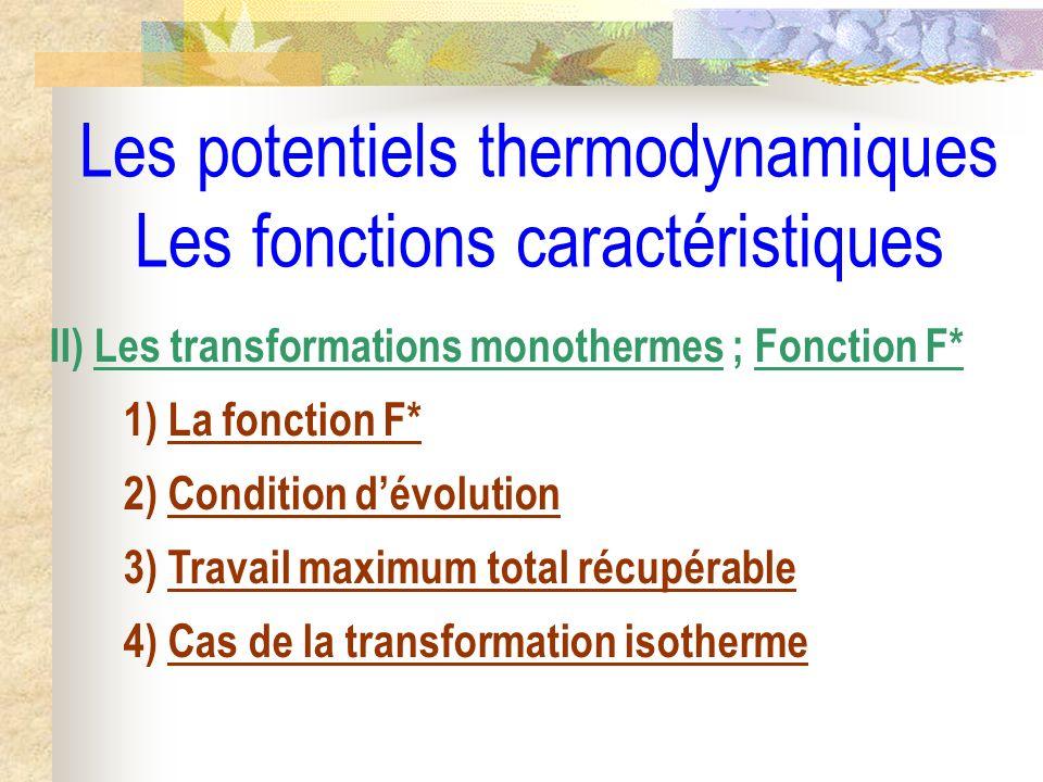 Les potentiels thermodynamiques Les fonctions caractéristiques II) Les transformations monothermes ; Fonction F* 1) La fonction F* 2) Condition dévolu