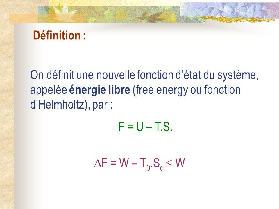 Définition : On définit une nouvelle fonction détat du système, appelée énergie libre (free energy ou fonction dHelmholtz), par : F = U – T.S. F = W –