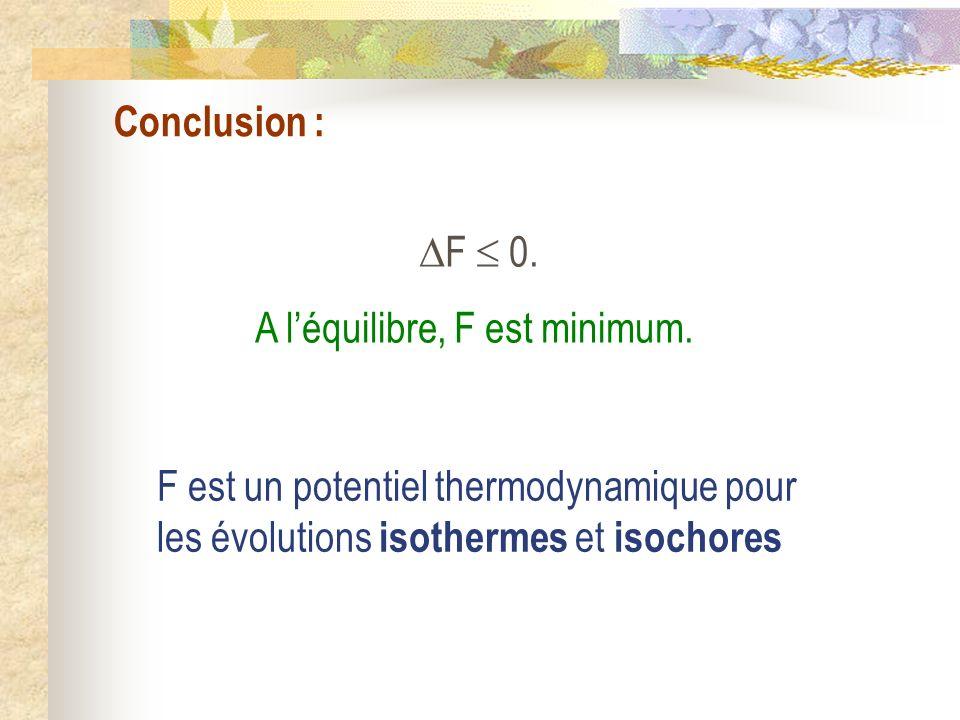 Conclusion : F 0. A léquilibre, F est minimum. F est un potentiel thermodynamique pour les évolutions isothermes et isochores