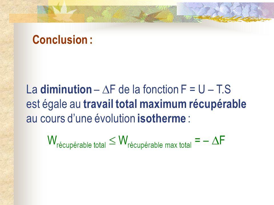 Conclusion : La diminution – F de la fonction F = U – T.S est égale au travail total maximum récupérable au cours dune évolution isotherme : W récupér
