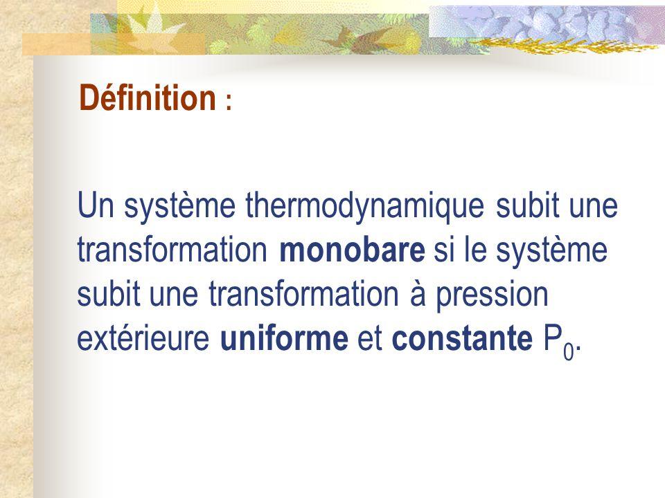 Définition : Un système thermodynamique subit une transformation monobare si le système subit une transformation à pression extérieure uniforme et con