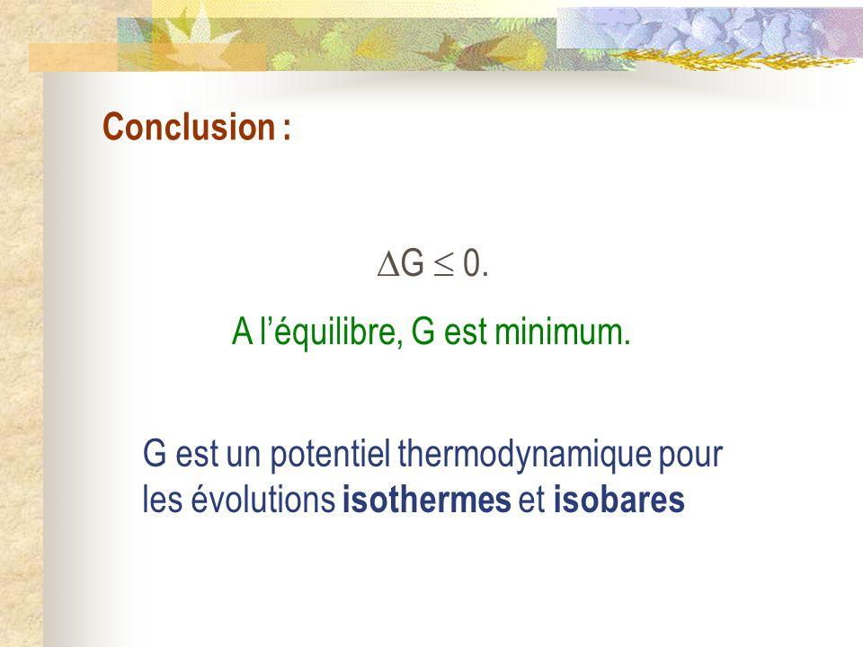 Conclusion : G 0. A léquilibre, G est minimum. G est un potentiel thermodynamique pour les évolutions isothermes et isobares