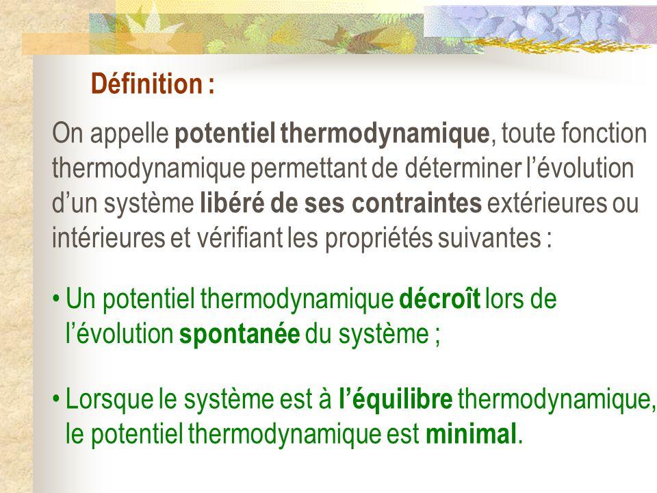 Définition : On appelle potentiel thermodynamique, toute fonction thermodynamique permettant de déterminer lévolution dun système libéré de ses contra