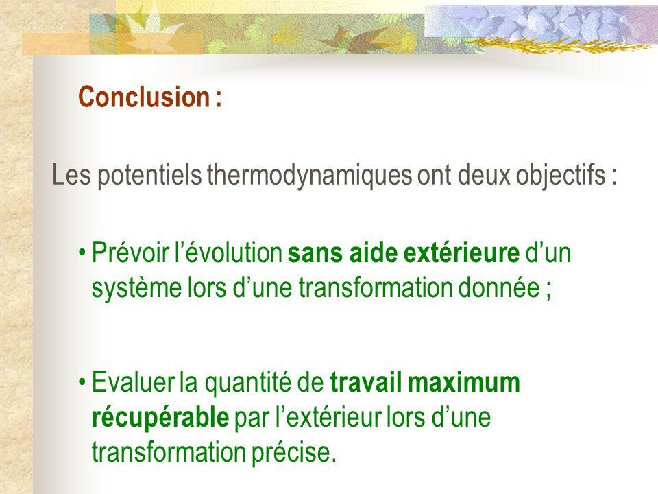 Conclusion : Les potentiels thermodynamiques ont deux objectifs : Prévoir lévolution sans aide extérieure dun système lors dune transformation donnée