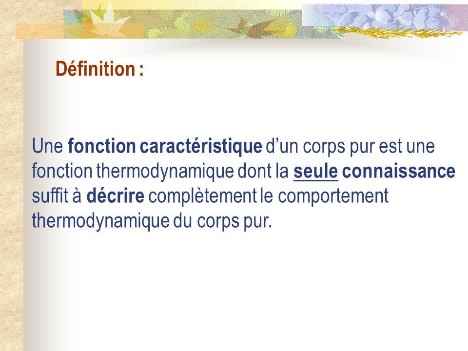 Définition : Une fonction caractéristique dun corps pur est une fonction thermodynamique dont la seule connaissance suffit à décrire complètement le c