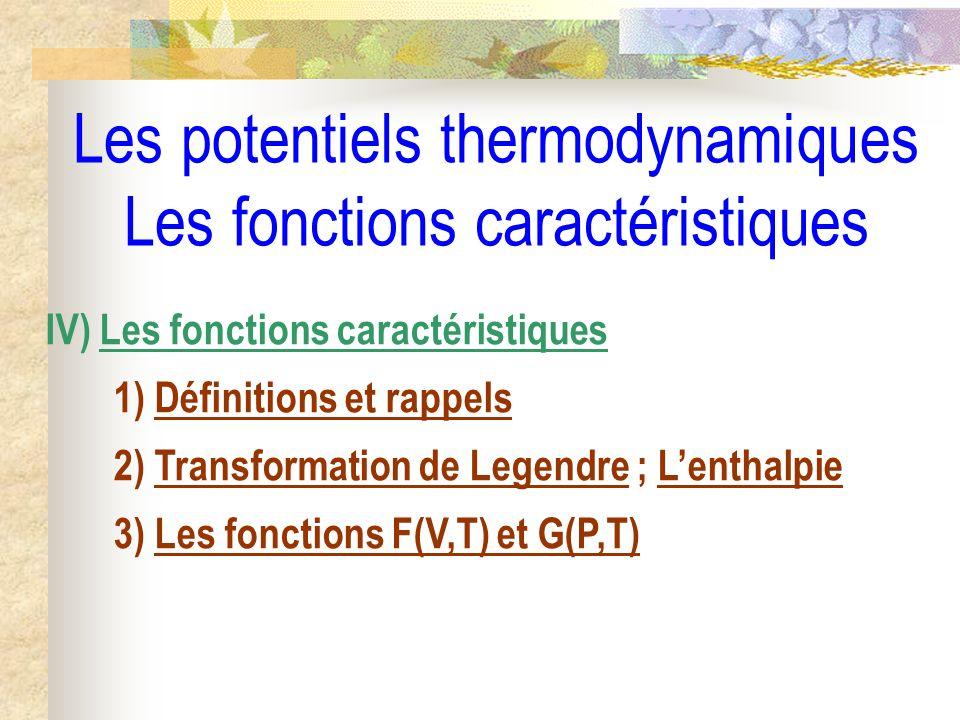 Les potentiels thermodynamiques Les fonctions caractéristiques IV) Les fonctions caractéristiques 1) Définitions et rappels 2) Transformation de Legen