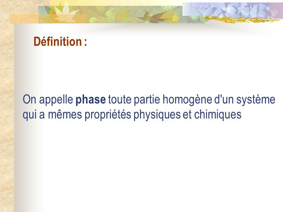 Définition : On appelle phase toute partie homogène d'un système qui a mêmes propriétés physiques et chimiques