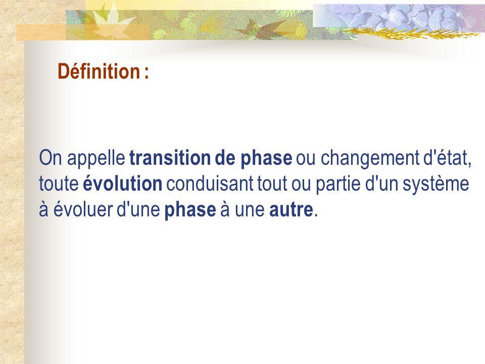 Définition : On appelle transition de phase ou changement d'état, toute évolution conduisant tout ou partie d'un système à évoluer d'une phase à une a