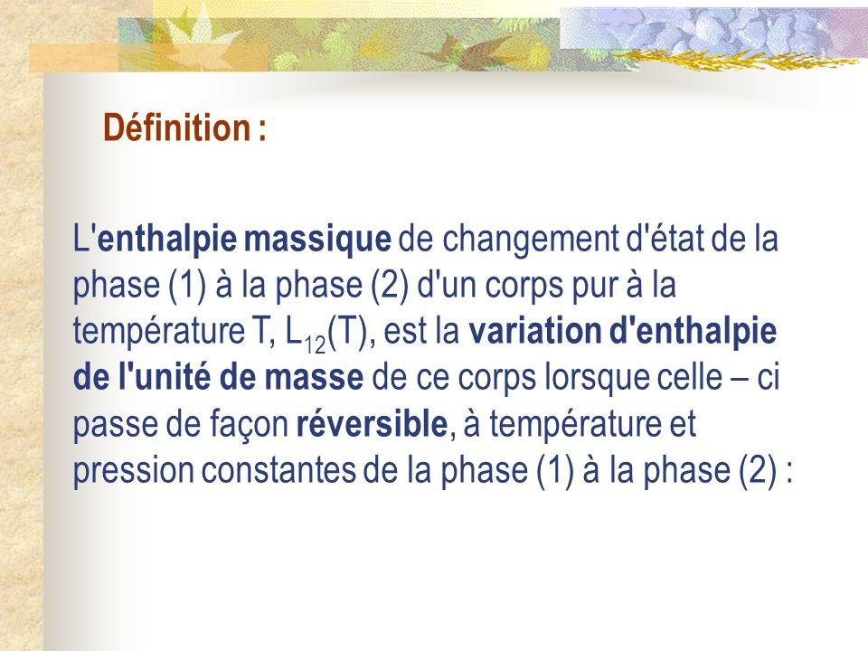 Définition : L' enthalpie massique de changement d'état de la phase (1) à la phase (2) d'un corps pur à la température T, L 12 (T), est la variation d