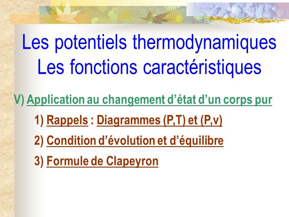 Les potentiels thermodynamiques Les fonctions caractéristiques V) Application au changement détat dun corps pur 1) Rappels : Diagrammes (P,T) et (P,v)