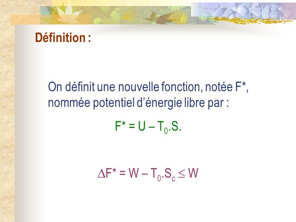 Définition : On définit une nouvelle fonction, notée F*, nommée potentiel dénergie libre par : F* = U – T 0.S. F* = W – T 0.S c W