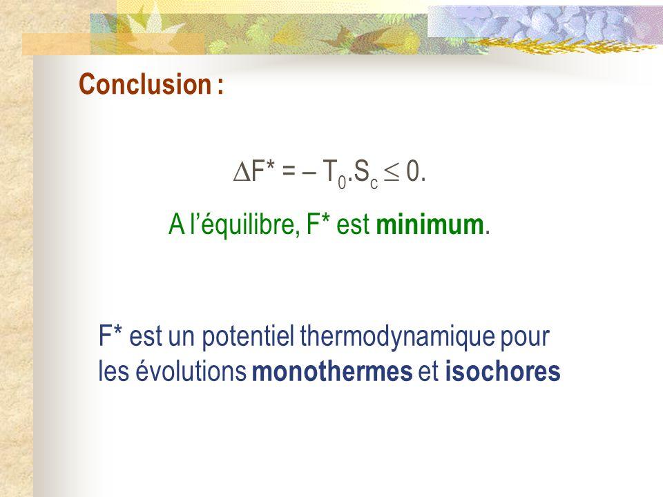 Conclusion : F* = – T 0.S c 0. A léquilibre, F* est minimum. F* est un potentiel thermodynamique pour les évolutions monothermes et isochores