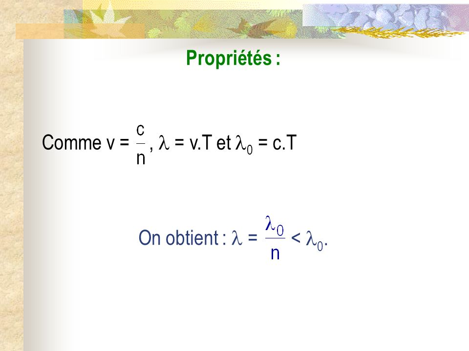 Conséquence : Pour le calcul de M, donc de M, grâce au chemin optique (SM), on a remplacé le problème réel de propagation dans un milieu entre les points S et M par un problème virtuel de propagation dans le vide à temps constant.