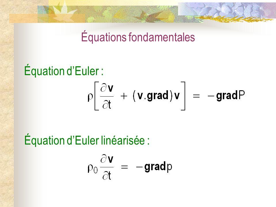 Équations fondamentales Équation dEuler : Équation dEuler linéarisée :