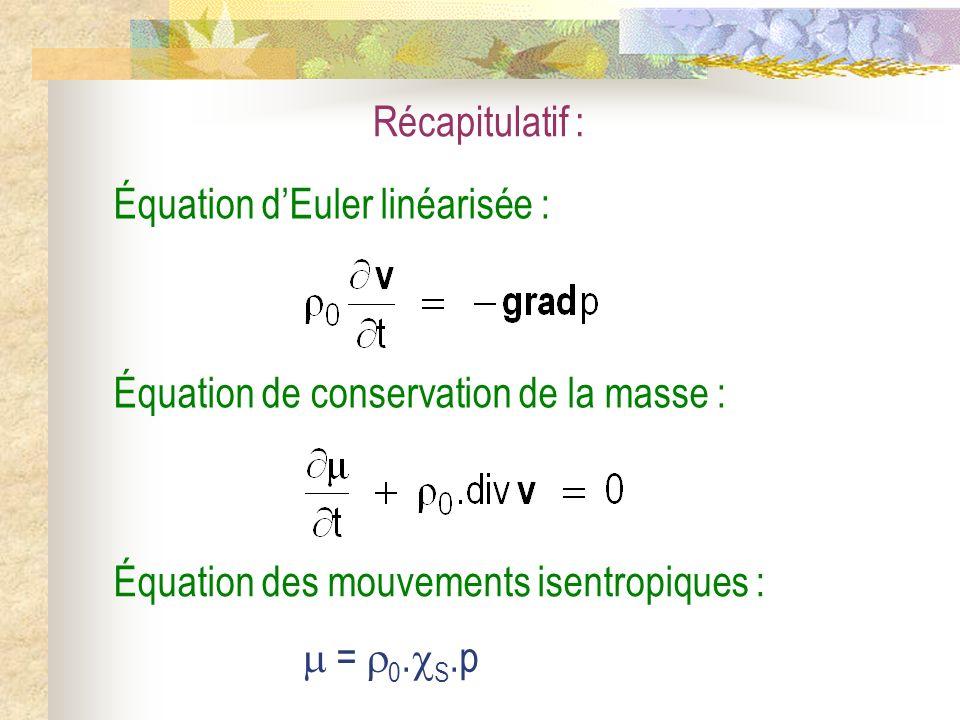 Récapitulatif : Équation des mouvements isentropiques : = 0. S.p Équation de conservation de la masse : Équation dEuler linéarisée :