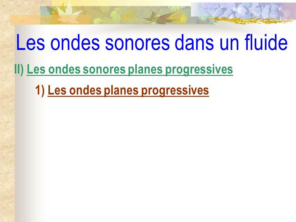 Les ondes sonores dans un fluide II) Les ondes sonores planes progressives 1) Les ondes planes progressives