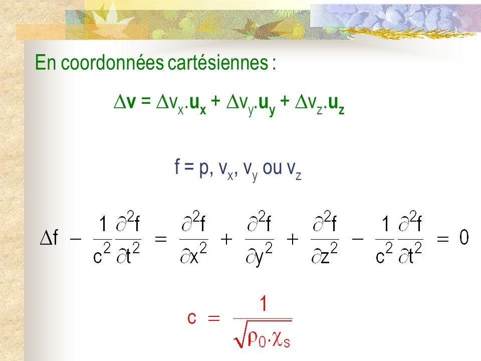 En coordonnées cartésiennes : v = v x. u x + v y. u y + v z. u z f = p, v x, v y ou v z