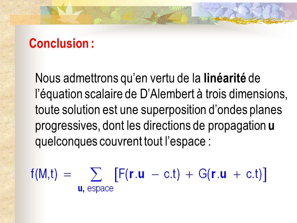 Conclusion : Nous admettrons quen vertu de la linéarité de léquation scalaire de DAlembert à trois dimensions, toute solution est une superposition do