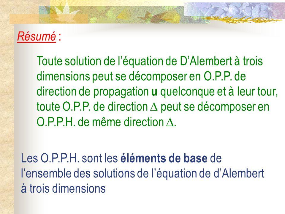 Toute solution de léquation de DAlembert à trois dimensions peut se décomposer en O.P.P. de direction de propagation u quelconque et à leur tour, tout