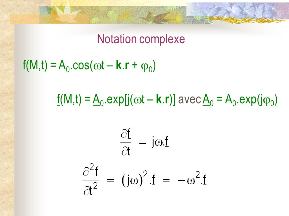 Notation complexe f(M,t) = A 0.cos( t – k. r + 0 ) f(M,t) = A 0.exp[j( t – k. r )] avec A 0 = A 0.exp(j 0 )