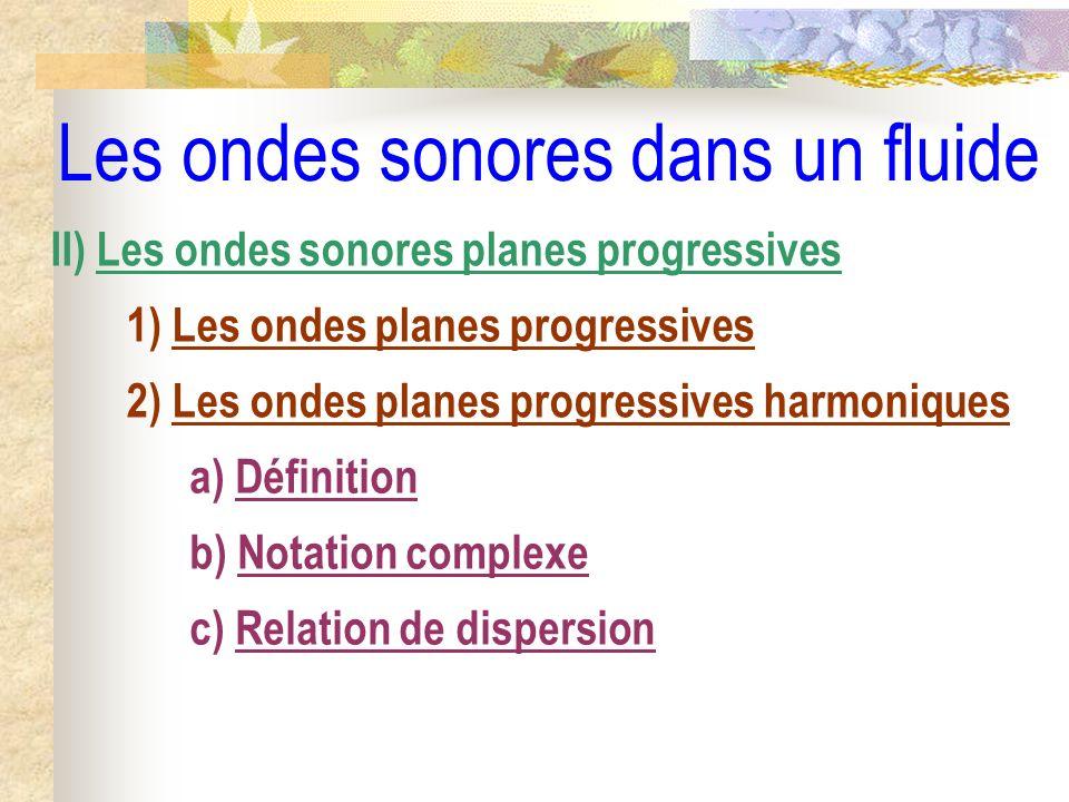 Les ondes sonores dans un fluide II) Les ondes sonores planes progressives 1) Les ondes planes progressives 2) Les ondes planes progressives harmoniqu