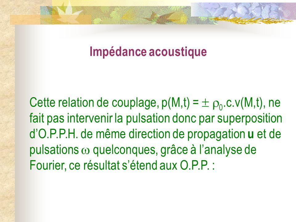Impédance acoustique Cette relation de couplage, p(M,t) = 0.c.v(M,t), ne fait pas intervenir la pulsation donc par superposition dO.P.P.H. de même dir
