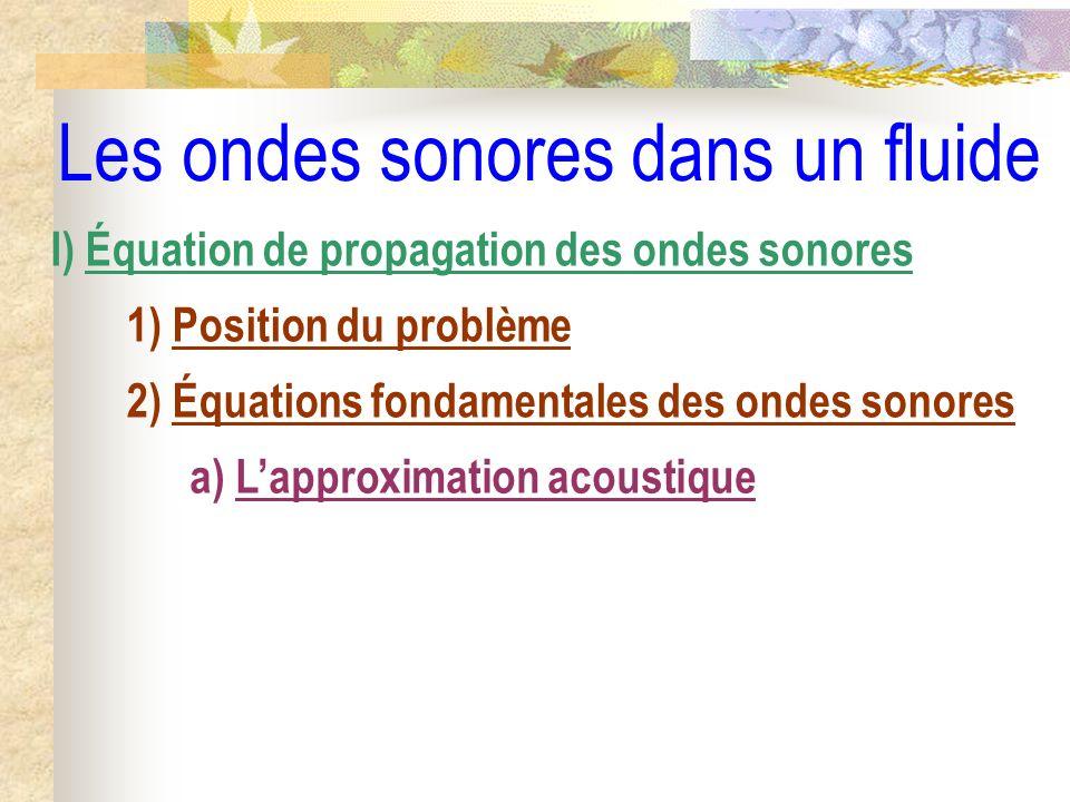 Les ondes sonores dans un fluide II) Les ondes sonores planes progressives 1) Les ondes planes progressives 2) Les ondes planes progressives harmoniques a) Définition b) Notation complexe