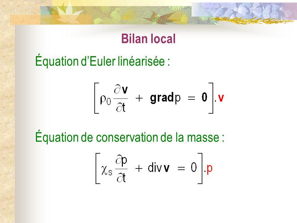 Bilan local Équation de conservation de la masse : Équation dEuler linéarisée :
