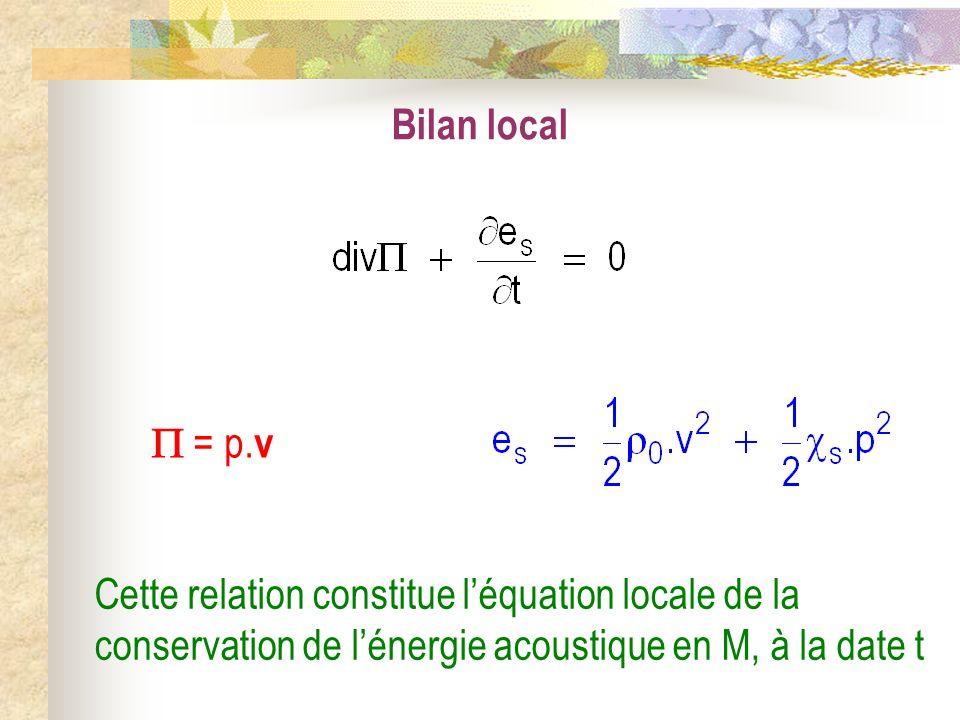 = p. v Cette relation constitue léquation locale de la conservation de lénergie acoustique en M, à la date t