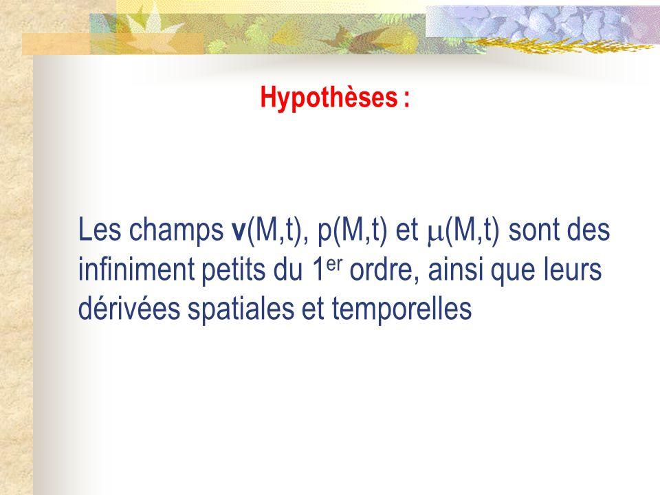 Hypothèses : Les champs v (M,t), p(M,t) et (M,t) sont des infiniment petits du 1 er ordre, ainsi que leurs dérivées spatiales et temporelles