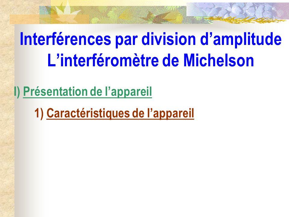 Interférences par division damplitude Linterféromètre de Michelson I) Présentation de lappareil 1) Caractéristiques de lappareil
