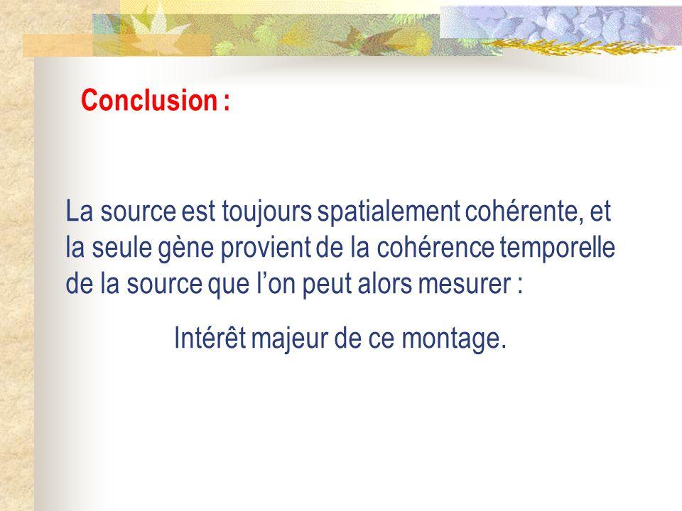 Conclusion : La source est toujours spatialement cohérente, et la seule gène provient de la cohérence temporelle de la source que lon peut alors mesur