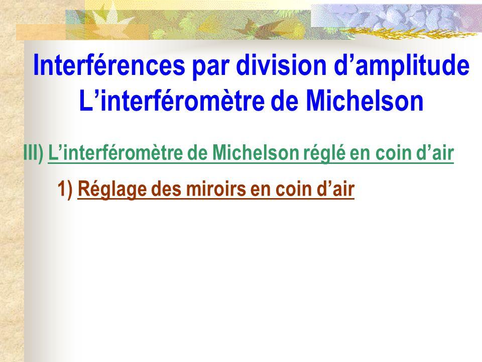 Interférences par division damplitude Linterféromètre de Michelson III) Linterféromètre de Michelson réglé en coin dair 1) Réglage des miroirs en coin