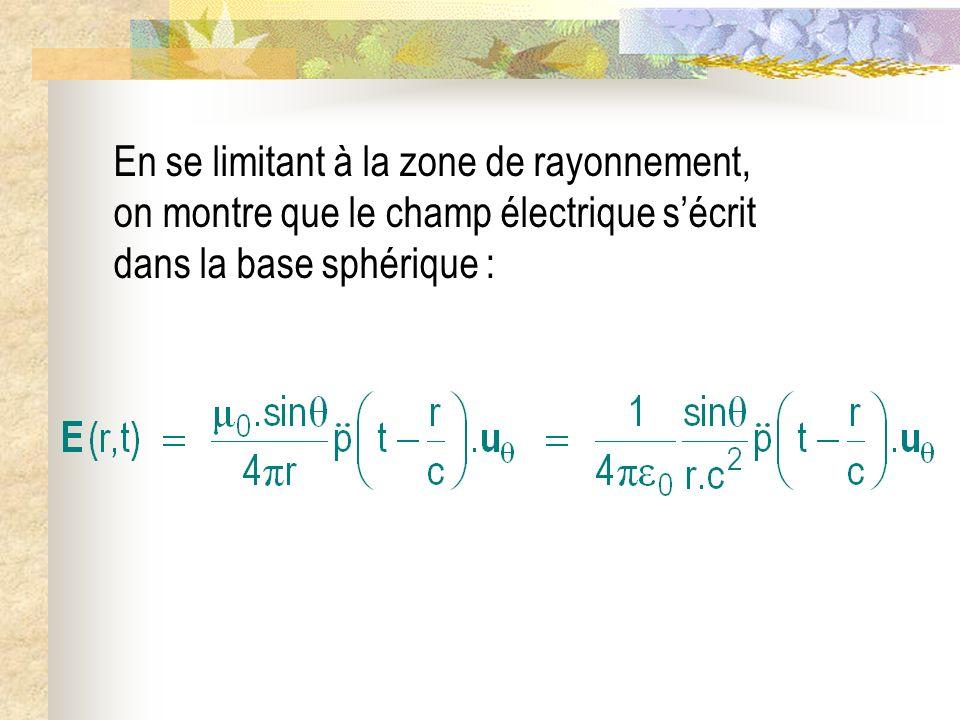 En se limitant à la zone de rayonnement, on montre que le champ électrique sécrit dans la base sphérique :