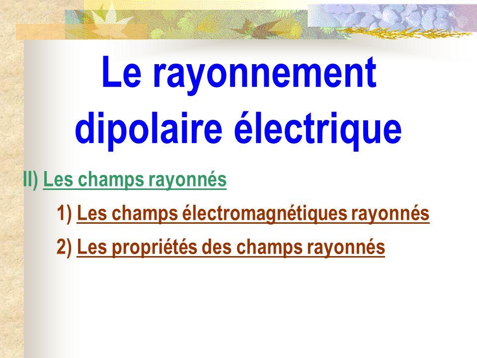 Le rayonnement dipolaire électrique II) Les champs rayonnés 1) Les champs électromagnétiques rayonnés 2) Les propriétés des champs rayonnés