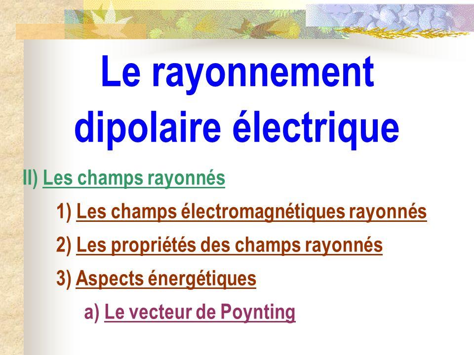 Le rayonnement dipolaire électrique II) Les champs rayonnés 1) Les champs électromagnétiques rayonnés 2) Les propriétés des champs rayonnés 3) Aspects