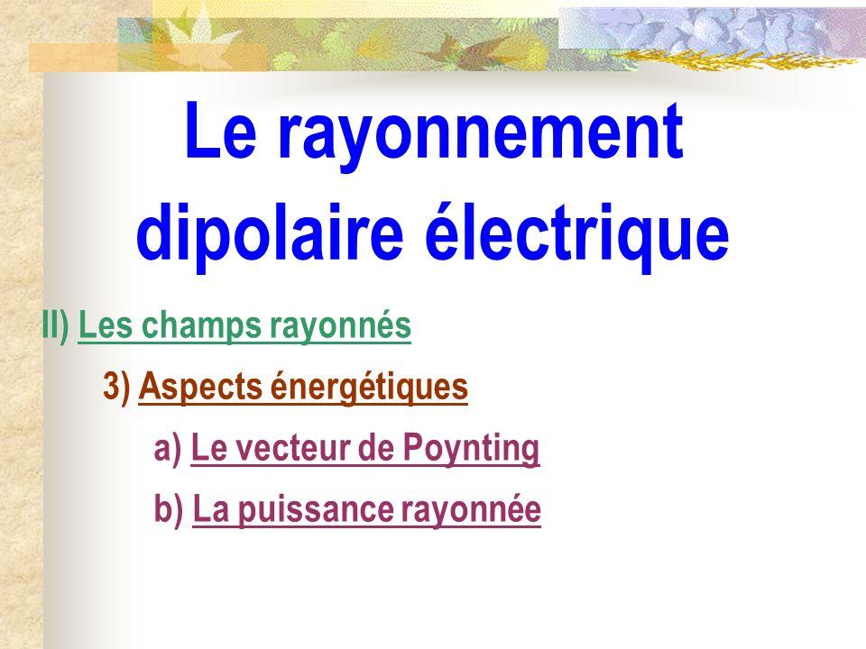 Le rayonnement dipolaire électrique II) Les champs rayonnés 3) Aspects énergétiques a) Le vecteur de Poynting b) La puissance rayonnée